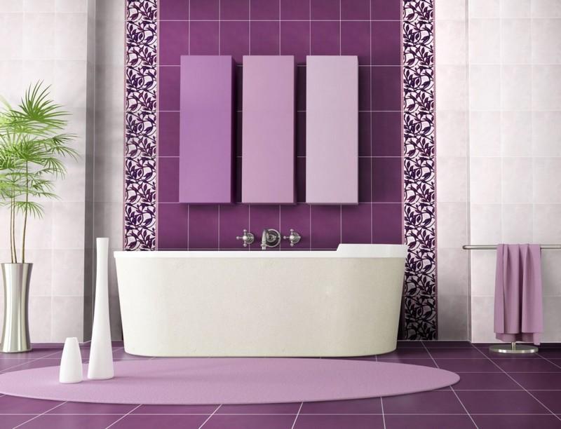 бело фиолетовая ванная комната фото