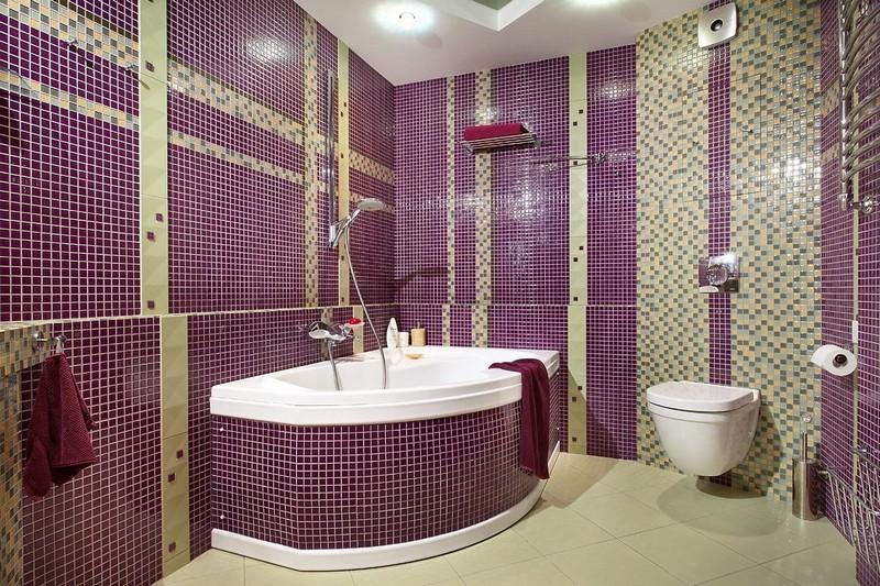 дизайн фиолетовой ванной фото