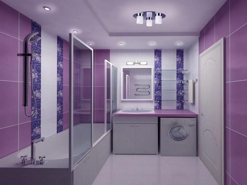 дизайн ванной в фиолетовых тонах фото