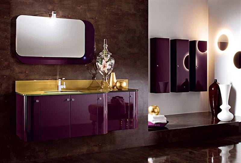 фиолетово коричневая ванная комната фото