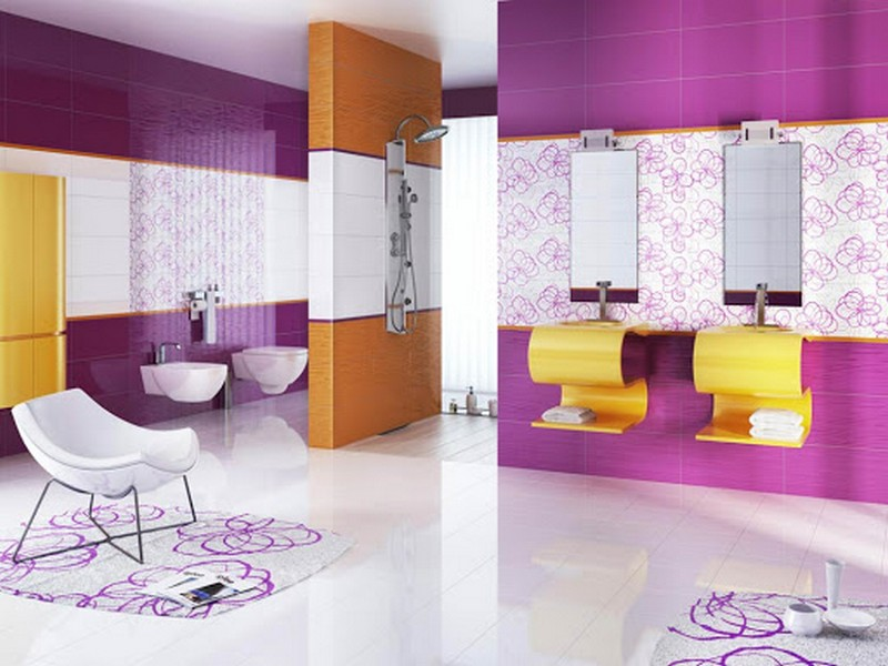 оранжево фиолетовая ванная фото