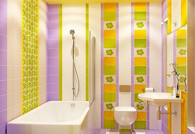 ванная фиолетовая с желтым фото