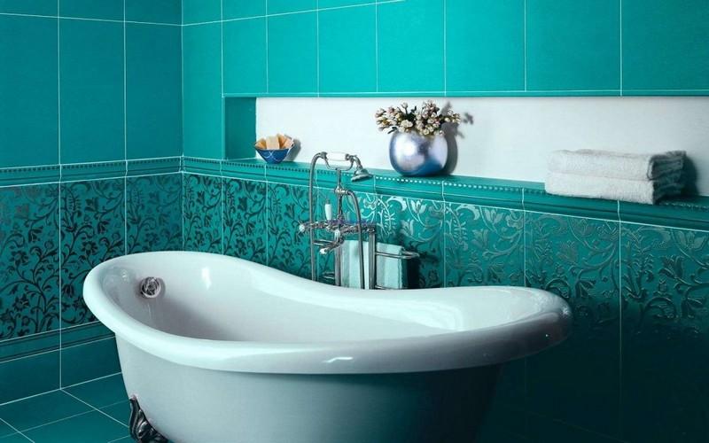 бирюзовая ванная комната фото