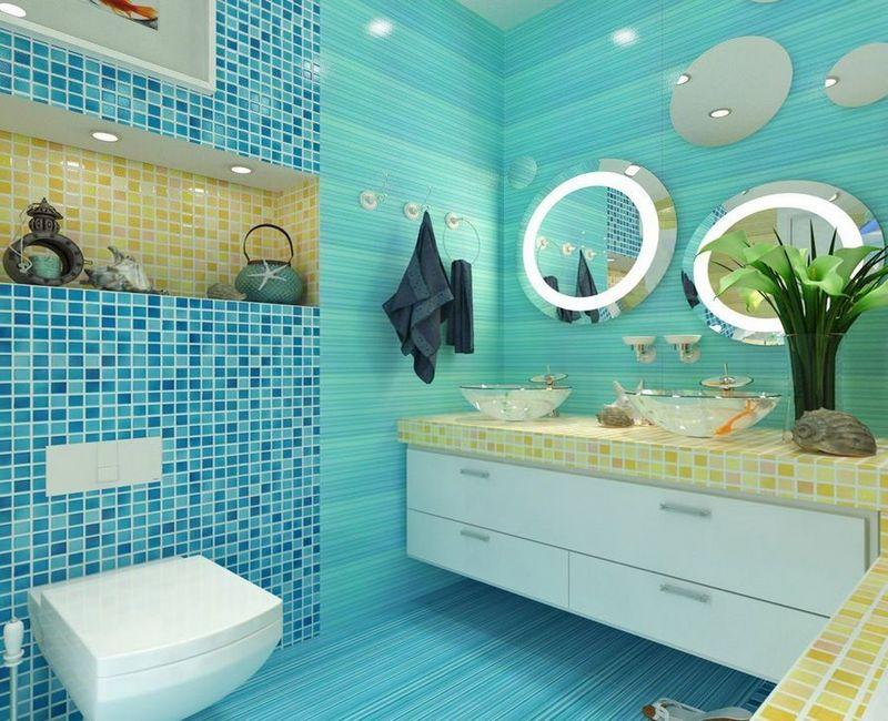бирюзовая ванная в морском стиле фото