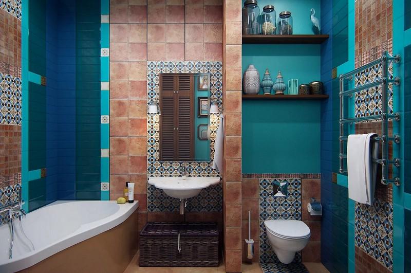 бирюзовая ванная в средиземноморском стиле фото