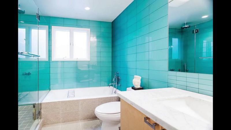 бирюзовая ванная в стиле минимализм фото