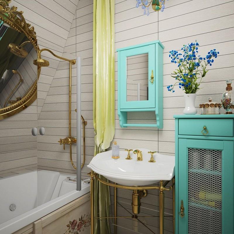 бирюзовая ванная в стиле прованс фото