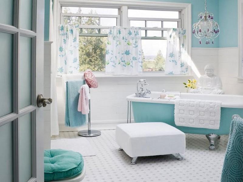 интерьер бирюзовой ванной комнаты фото