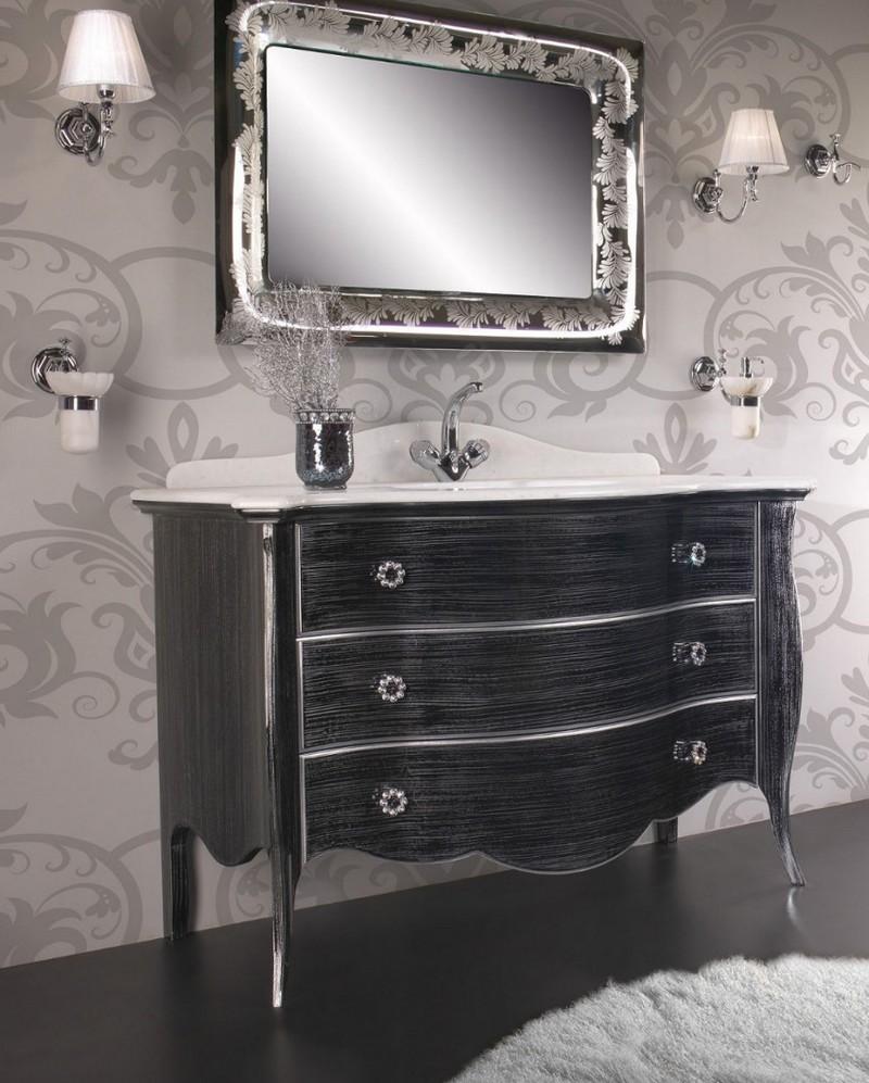 черная мебель для ванной фото