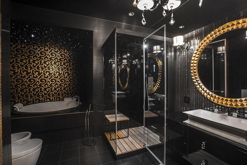 черная мебель в ванной на черном фоне фото