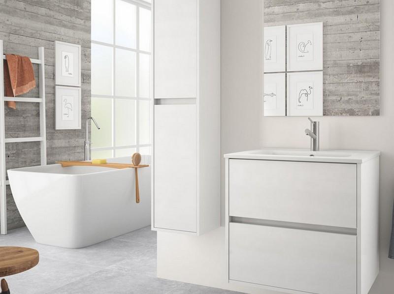 матовая белая мебель для ванной фото