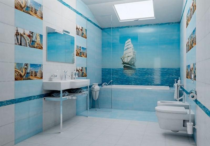 морской стиль голубой ванной фото