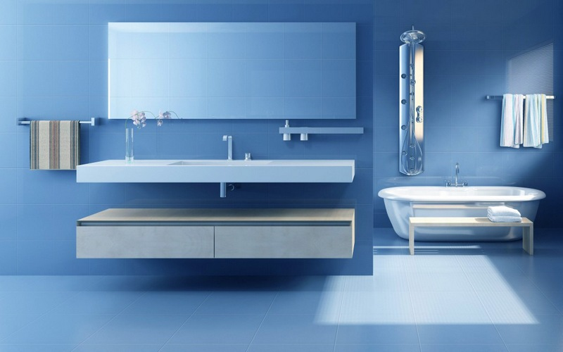 ванная минимализм в голубых тонах фото