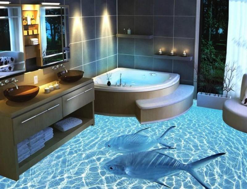 ванная в голубых тонах фото