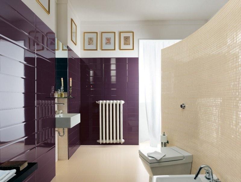 бежево фиолетовая ванная комната фото
