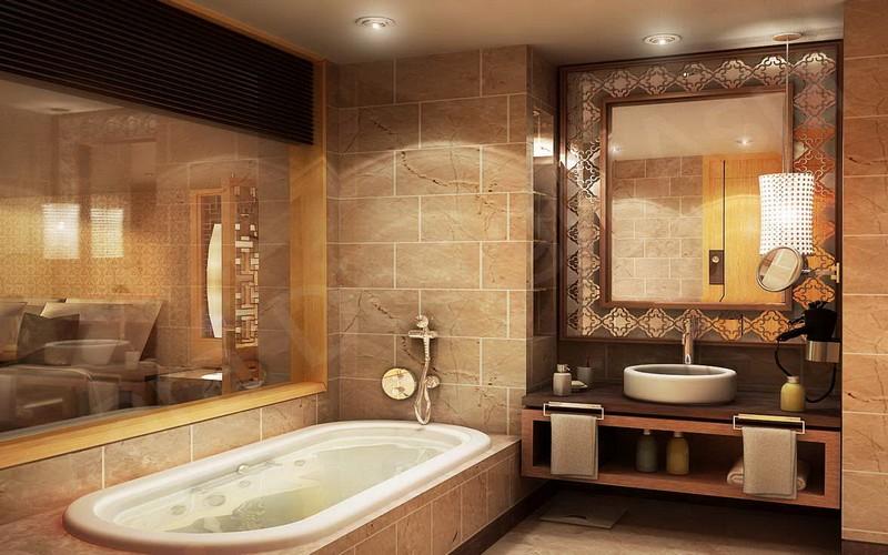 бежево коричневая ванная фото