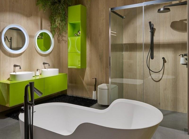 бежево зеленая ванная фото