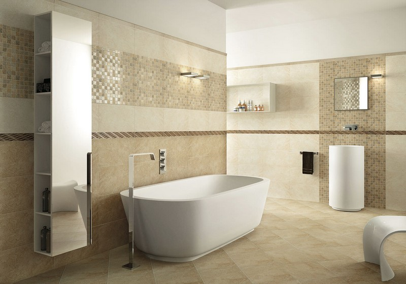 интерьер бежевой ванной фото