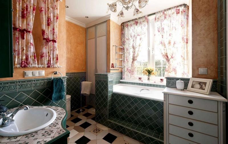 шторы на окно в ванную фото