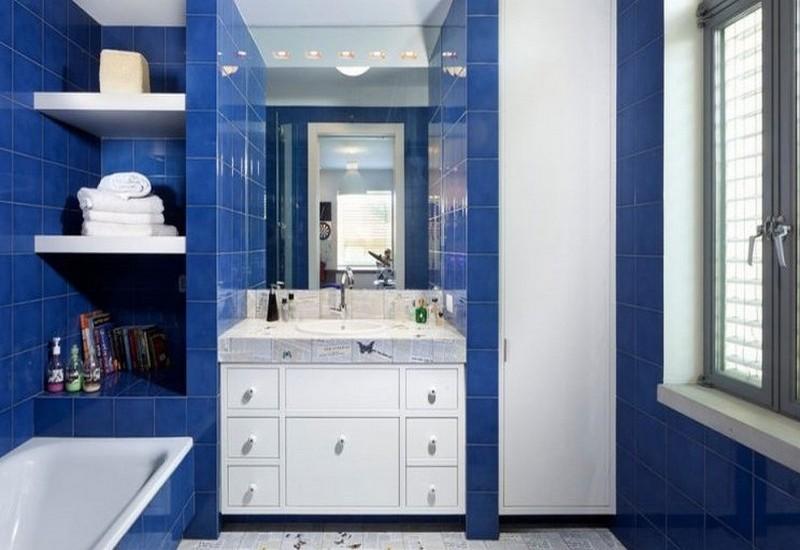 бело синяя ванная фото
