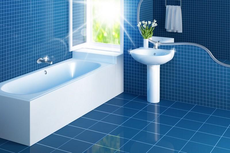 дизайн синей ванной фото