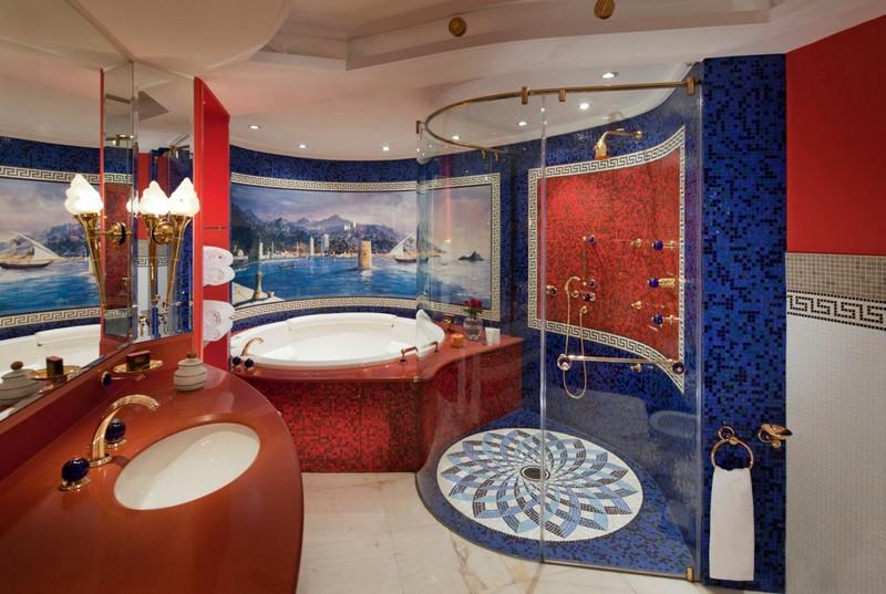 красно синяя ванная фото