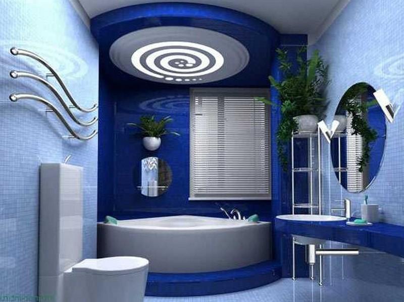 сине голубая ванная фото