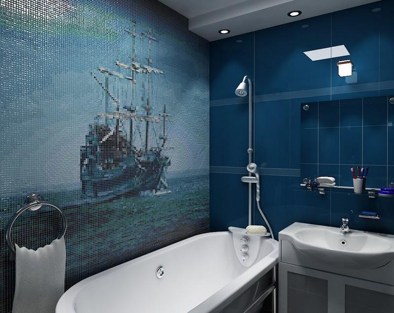 синяя ванная комната фото