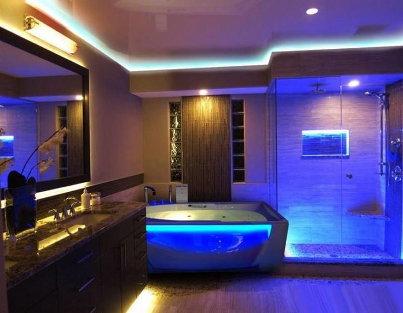 синяя ванная хай тек фото