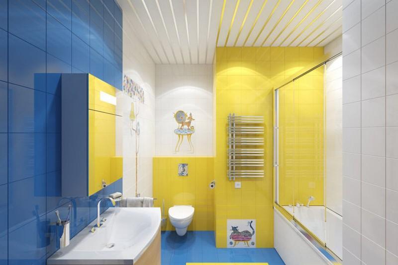желто синяя ванная фото