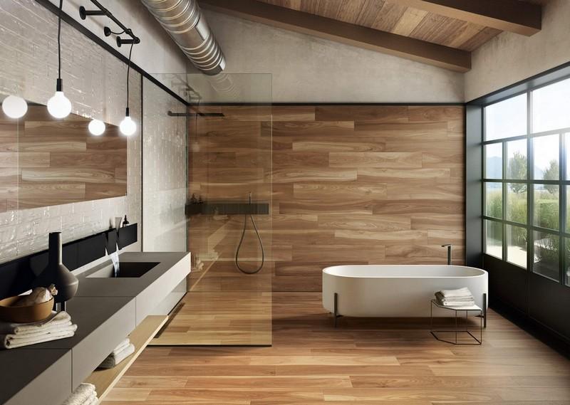 дизайн ванной комнаты под дерево фото