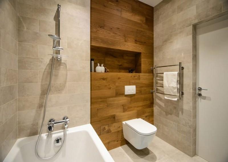 ламинат на стене в ванной фото