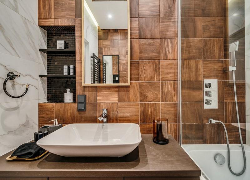 плитка для ванной под дерево фото