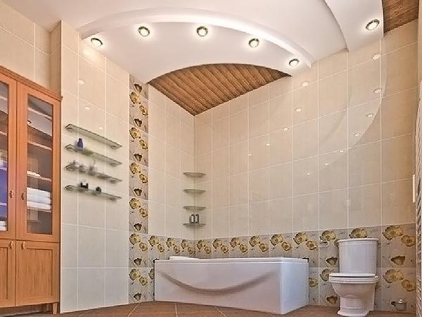 потолок из гипса в ванной за и против