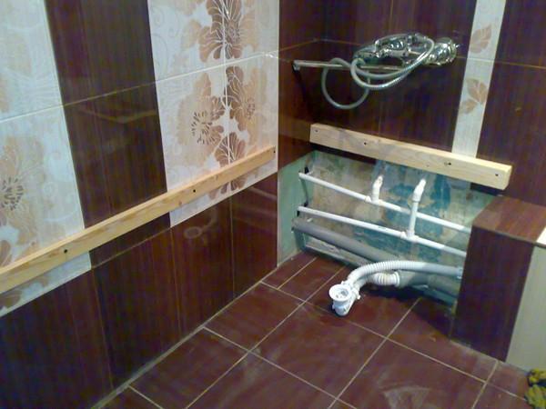 как проложить трубы в ванной фото