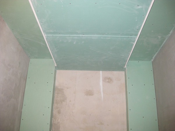 Plaster or drywall in the bathroom