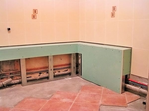 как сделать короб для труб в ванной из гипсокартона