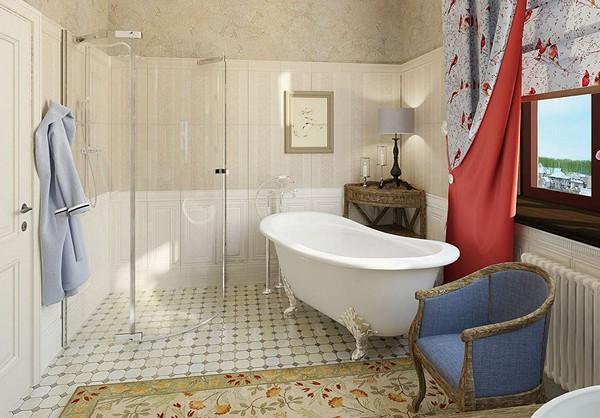 душкабина в ванной стиля прованс