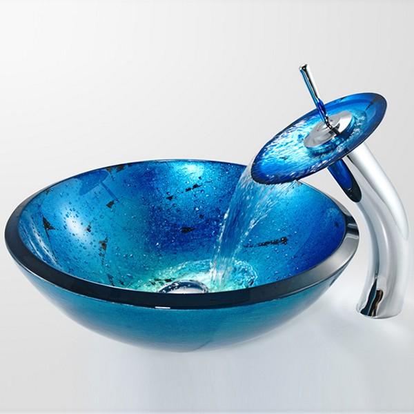 синяя стеклянная раковина фото