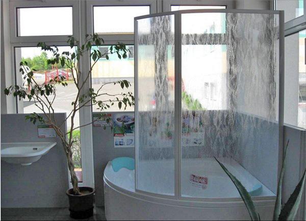стеклянные шторы для угловой ванны фото