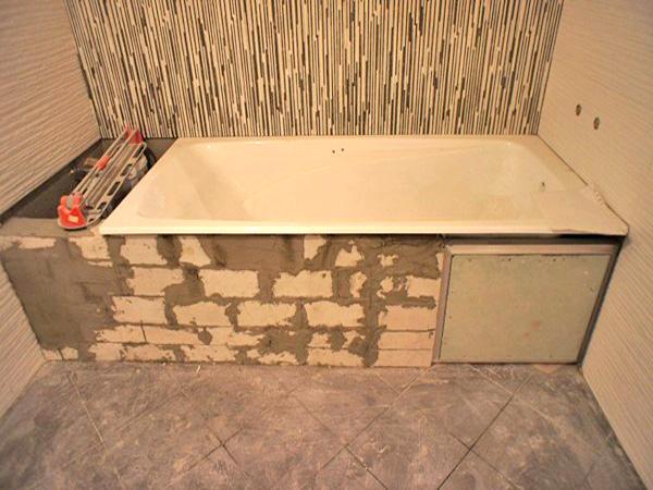 Установка ванны своими руками к плитке