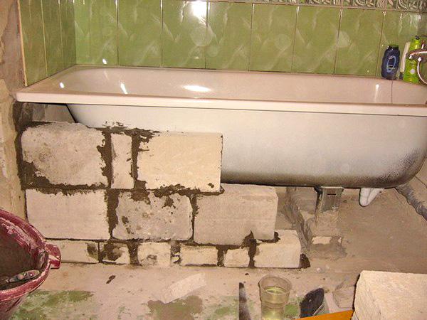 установка стальной ванны на кирпичи фото
