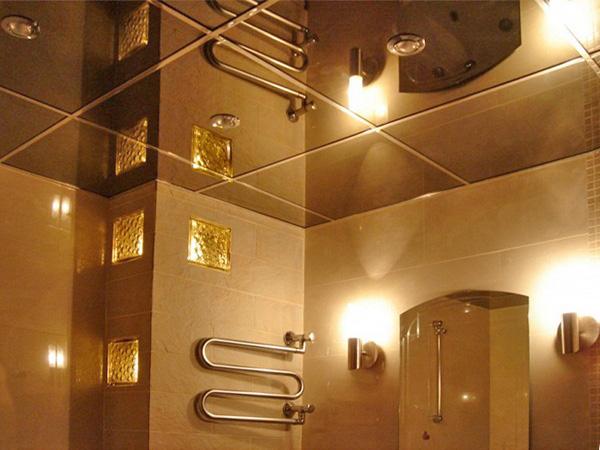 зеркальный потолок армстронг для ванной фото