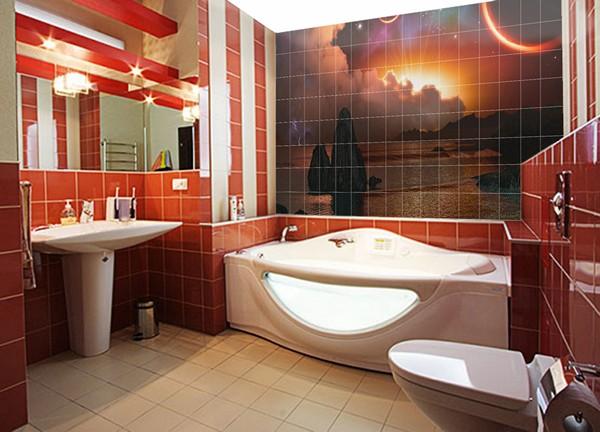 ванная комната с фотоплиткой фото