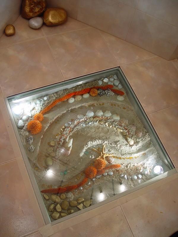 стеклянный пол в ванной фото