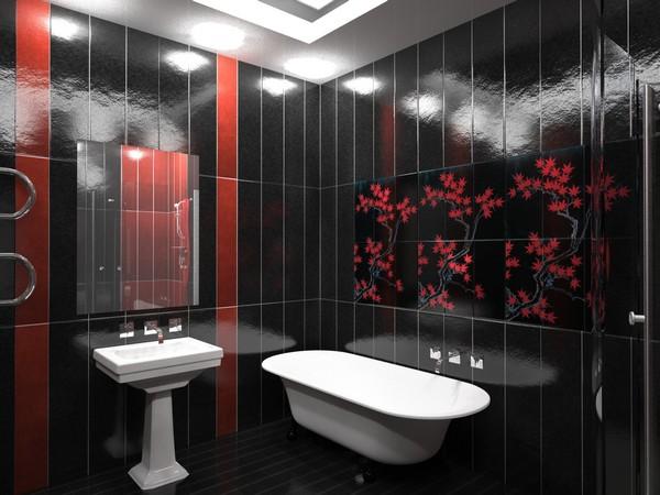 интерьер ванной комнаты черно белой фото