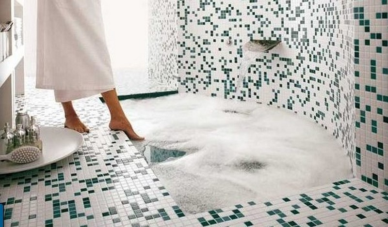 мозаика на пол в ванной фото