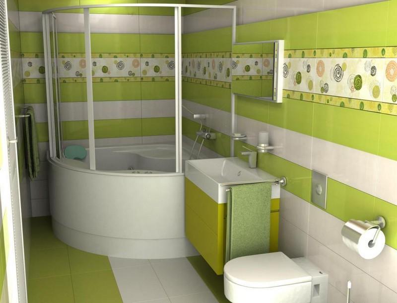 интерьер зеленой ванной комнаты фото