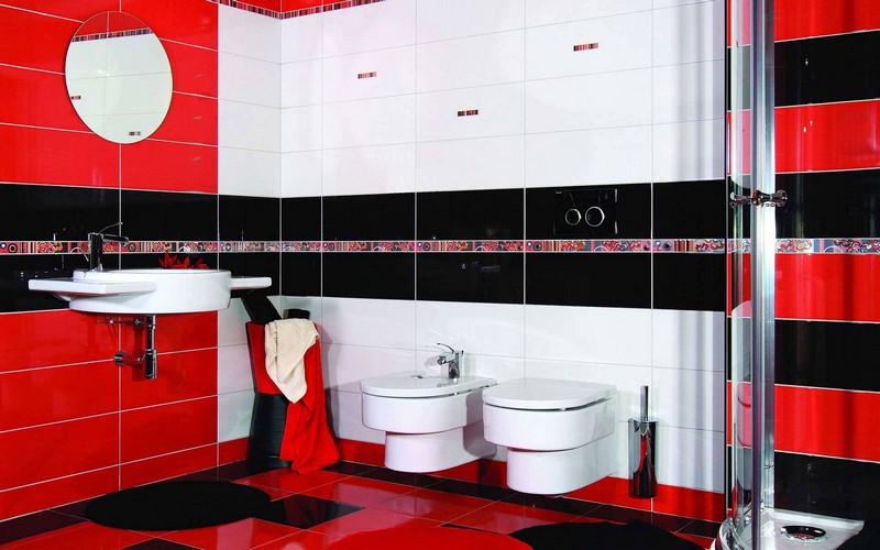 красная ванная комната фото